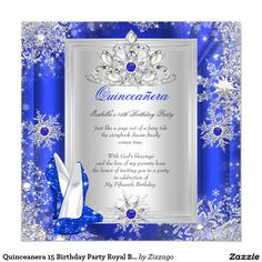 Quinceanera 15 Birthday Party Royal Blue Heels 2 Invitation