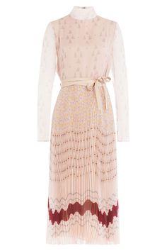 Valentino - Pleated Silk Printed Dress