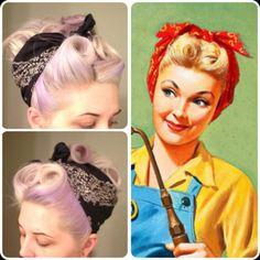 50's bandana hairstyle for long thin hair tutorial - Google Search
