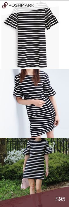 J Crew bell sleeve striped dress. Adorable navy & white striped dress with bell sleeves. Back zip. Heavy weight cotton. 21 inches across chest & 36 1/2 inches from shoulder to hem. J. Crew Dresses