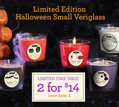 Add a spooky touch to your Halloween decor with this wickedly fabulous deal! Halloween Small Veriglass are now 2 for $14 at rootcandles.com. #Halloween #HalloweenCandles #allnatural #madeinAmerica