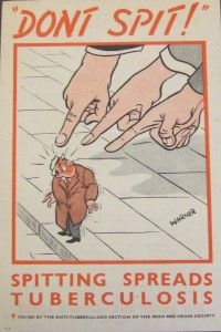 Poster from the Irish Department of Health from the 1950s warning against spitting, as part of its nationwide campaign against tuberculosis.