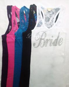 Sale Bride Lace Tank Top BridesmaidTeam Bride by JJWWshop on Etsy, $9.88