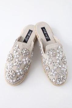 560c35a93a2c Amaryllis Cream Beaded Espadrille Loafer Slides