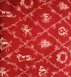 Holiday Wreath Fabric Red by Waverly Inspirations Screen Print Holiday Cotton Duck, Fabric by the Yard by LaCreekBlue on Etsy