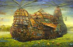 Internet Art Gallery - Malinauskas Modestas - The Last One fantasy steampunk oil painting by Modestas Malinauskas Internet Art, Fantasy World, Fantasy Art, Fantasy Landscape, Weird Pictures, Bored Panda, Artist Painting, Ghibli, Les Oeuvres