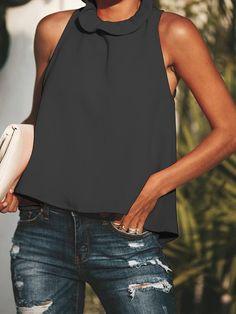 Round neck sleeveless Plain Fashion Back Bowkont T-shirt Top - ClothingI Dressy Tops, Mode Outfits, Casual Outfits, Curvy Fashion, Womens Fashion, Style Fashion, Cheap Fashion, Kentucky Derby, Cute Tops