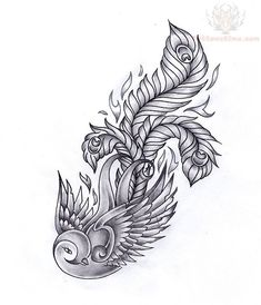 Swallow Feather Tattoo Design