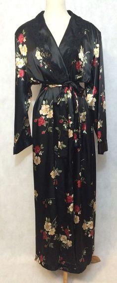 Vintage Adonai Woman Black Floral Satiny Robe SZ 1XL  | eBay