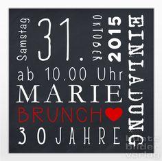 """Einladungskarten """"Marie"""" • schwarz von bunte bilder shop auf DaWanda.com"""