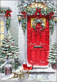 White house with red door with christmas decorations. I added some glitter to it. DF.