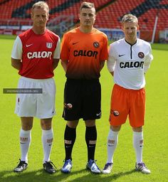 Dundee United home, away and third kits 2013. Nike.