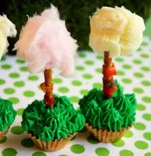 DR. SEUSS Truffula Tree cupcakes! Make these with big pretzel sticks and cotton candy