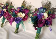 Teal Peacock Wedding Bouquet