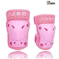 JBM Children Protective Gear Knee Pads and Elbow Pads for Multi Sports BMX Biking, Rollerblades, Scootering Cycling and Others - 3 Colour Options (Pink, Child / Kids)