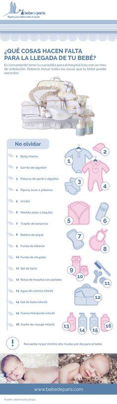 Interesante futuras Mamás y Papás. ¿Qué cosas incluir en una canastilla de hospital para el futuro bebé? #Infografía #Bebé #Canastilla: