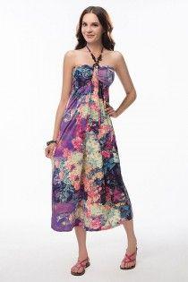 High Elasticity Retro Print Sleeveless Halter Maxi Dress