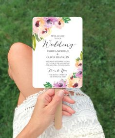 These wedding fan programs are perfect for any wedding budget! This easy editable template can be printed at home or a local copy center! Check out our Wedding Programs section for more fan wedding program ideas! Wedding Program Fans, Wedding Fans, Wedding Themes, Diy Wedding, Wedding Ceremony, Fan Programs, Wedding Ideas, Spring Wedding, Rustic Wedding