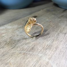 Vintage 14K yellow gold Lion wrap ring by VictoriaVVintage on Etsy