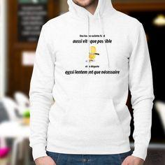 Pull humoristique blanc à capuche avec un fromage à raclette et la phrase culte ✚ Une bonne raclette fond aussi vite que possible et se déguste aussi lentement que nécessaire ✚ Quepos, Special T, Pull Sweat, T Shirt, Graphic Sweatshirt, Hoodies, Sweatshirts, Pulls, Sweaters