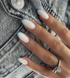 Nail Tip Designs, Ombre Nail Designs, Stylish Nails, Trendy Nails, Light Blue Nails, Pink Ombre Nails, Classic Nails, Shellac Nails, Love Nails