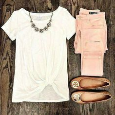Blush Pink Jeans and BP white twist front pre knotted tee. Tory burch cognac an… Blush Pink Jeans and BP white twist front pre knotted tee. Tory burch cognac and gold minnie travel flats and baublebar statement necklace. Casual Spring weekend look. Look Fashion, Fashion Outfits, Womens Fashion, Jeans Fashion, Fashion Clothes, Women's Clothes, Lolita Fashion, Fashion Rings, Fashion Ideas