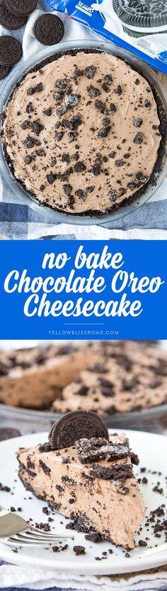 No Bake Chocolate Oreo Cheesecake with a homemade Oreo Crust