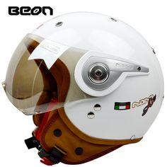 c8622d7f0cf Nueva llegada marca BEON casco de la motocicleta retro scooter de la cara  abierta del casco vintage 3 4 casque motociclistas capacete B-110A cascos