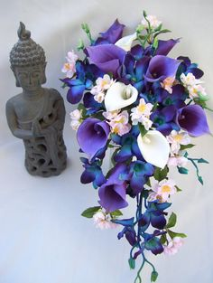 Asian Spring Cascade Bridal Bouquet with Blush Pink Cherry Blossoms,Purple Picasso and White Calla lilies, Blue Orchids