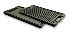 Emeril by All-Clad E6019764 Cast-Iron 2-Burner Reversible Grill Griddle Cookware, Black