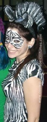 Homemade Zebra Costume: I have always been creative, and so I INSISTED on making my homemade costume just like I do every other year. The outfit consisted of zebra print leggings,