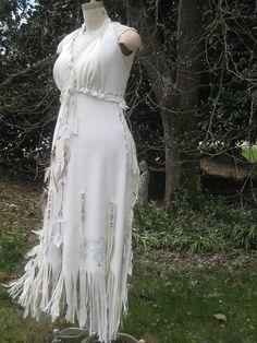 99cb585bea White Leather Wedding Dress Native American Inspired Boho Wedding dress  Western Wedding Dress
