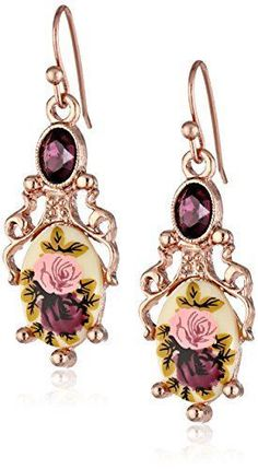 Easily one of my favorite beautiful and unique statement earrings featured on today�s blog post. Rose gold is lovely to look at by itself but these floral rose gold dangle earrings are darling.       1928 Jewelry Manor House Filigree Drop Earrings