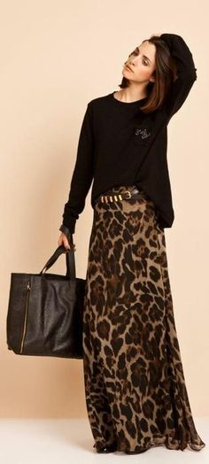 How to wear fall fashion outfits with casual style trends Fashion Mode, Modest Fashion, Look Fashion, Womens Fashion, Animal Print Fashion, Fashion Prints, Animal Prints, Leopard Prints, Cheetah