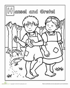 Preschool Fairy Tales People Worksheets: Hansel and Gretel Coloring Page