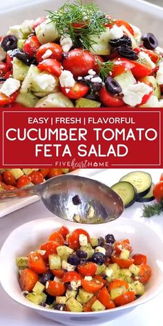 Fresh Tomato Recipes, Tomato Salad Recipes, Cucumber Recipes, Recipes With Grape Tomatoes, Garden Tomato Recipes, Cucumber Tomato Feta Salad, Cherry Tomato Salad, Cucumber Salad Dressing, Tips