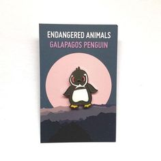 Galapagos Penguin Limited Edition Hard Enamel Pin//Cute//Kawaii//Illustrated Goods Galapagos Penguin, Kawaii, Galapagos Islands, Hard Enamel Pin, Endangered Species, Great Books, Climate Change, Penguins, Childrens Books