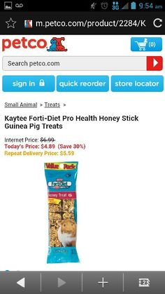 Kaytee forti diet pro health honey stick guinea pig treats