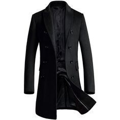 Men's Premium Wool Blend Double Breasted Long Pea Coat (€53) ❤ liked on Polyvore featuring men's fashion, men's clothing, men's outerwear, men's coats, mens coats, mens double breasted coat, mens double breasted pea coat and mens pea coat jacket