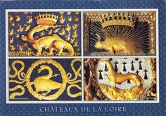Card showing the emblems of various kings and queens of France in châteaux of the Loire. Upper left shows the salamander of Francis I. Upper right show the porcupine of Louis XII, Francis I's predecessor. Lower right shows the ermine of Anne of Brittany. Lower left, shows the pierced swan of Queen Claude of France, wife to Francis I. https://hemmahoshilde.wordpress.com/2015/05/28/queen-claude-of-france-emblems/ <-- You're welcome to read more on my art blog.