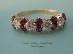 An Exciting Vintage ~ Estate 14k Ruby and Diamond Band  This Vibrant 14k Yellow Gold Ruby and Diamond Ring Is Breathtaking.  Size 6.5 (L785) $1395.00