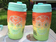 Ombre Mint Skulls Dia de los Muertos Big Little Summer Bubba Keg