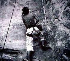 Rock climbing in America. It was tough to climb up this crack.. Pot Ash, Utah.