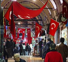 Turkish flags ☪ in a national feast day, Grand Bazaar, Istanbul, Turkey.