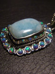 Genuine Larimar and Fire Opal Pure Sterling by GoatshoesDesign, $225.00