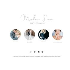 Melissa Mitchell designed the landing page for Modern Love Photography on Wordpress with the Prophoto blog template.