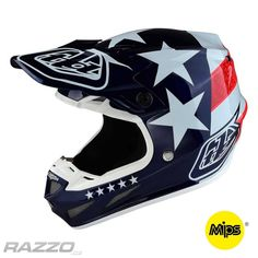 MX helma TroyLeeDesigns SE4 Composite Freedom Blue 2017 + brýle zdarma - helmy MX / Enduro | RAZZO