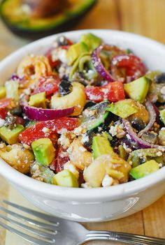 greek salad, greek salad dressing from scratch, avocado salad, cucumbers, olives, tomatoes, onion, snack, appetizer recipes, Mediterranean food, Mediterranean salad