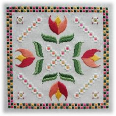 Hardanger designs by Mabel Figworthy& Fancies - Floral Tiles IV: Tulips Types Of Embroidery, Learn Embroidery, Embroidery Patterns, Hand Embroidery, Bargello Patterns, Doily Patterns, Bookmark Craft, Hardanger Embroidery, Satin Stitch