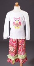Southern Tots Owl Applique Shirt and Pink Paisley Ruffle Bottom Pants